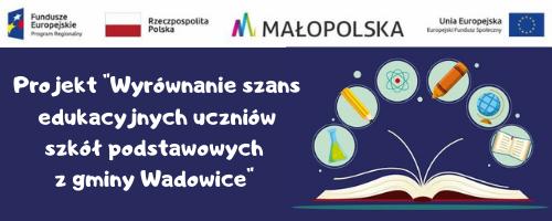 Logo projektu Wyrównywanie szans edukacyjnych uczniów szkół podstawowych z gminy Wadowice